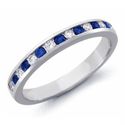 Picture of Diamond and Sapphires wedding band, 0.36Cts Tot