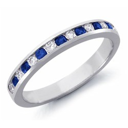 Diamond and Sapphires wedding band, 0.36Cts Tot