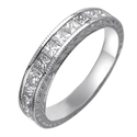 Picture of Hand engraved Princess diamonds wedding band.