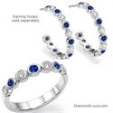Foto Anillo de boda con siete diamantes y zafiros de