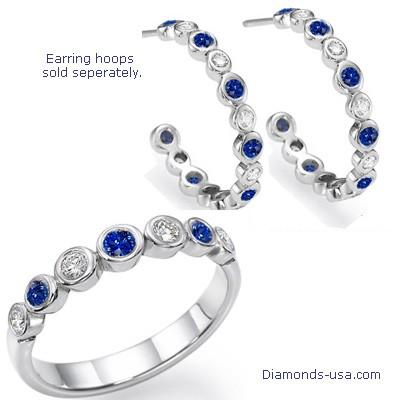Anillo de boda con siete diamantes y zafiros