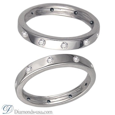 Flat surface diamond wedding ring, 3mm.