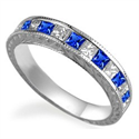 Picture of Princess Sapphires & Diamonds Vintage wedding band