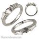 Foto Anillo de bodas con diamantes baguette cónicos laterales de