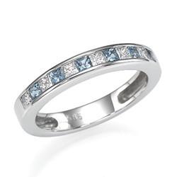 Wedding ring 8 Diamonds and Aquamarines