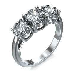 Round cut three stone engagement ring