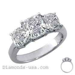 Engastes de anillos de diamantes de tres piedras de corte Cojín