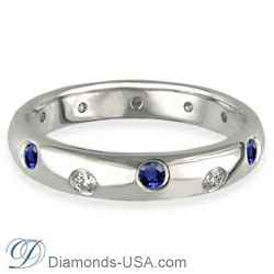 Diamonds & Blue Sapphires wedding ring, 3.7mm.