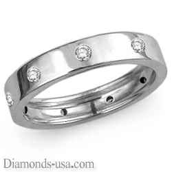 Flat surface diamond wedding ring, 4.5mm.