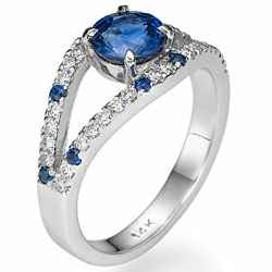 Round Royal Blue Sapphire designers ring