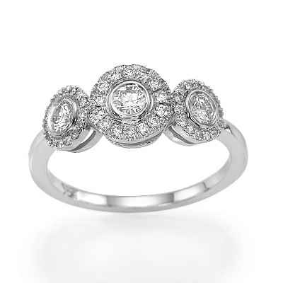 Three halos diamond ring