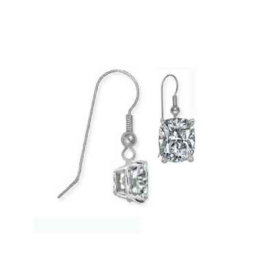 French Hinged Locked Cushion diamond earrings