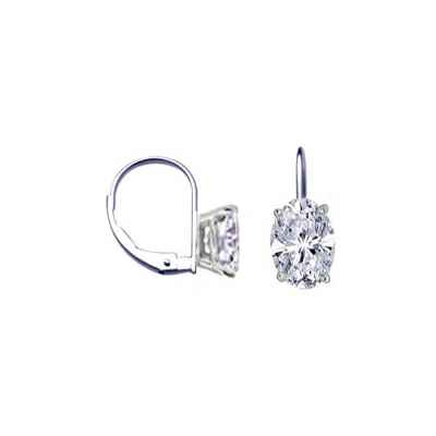 French wire locked hinged diamond earrings, Ovals