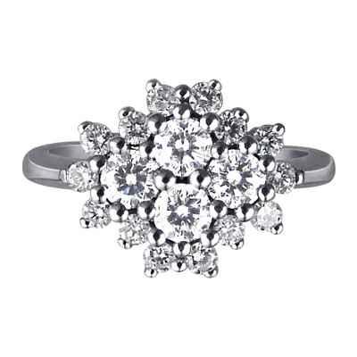 Anillo de flores de 0,96 quilates de diamantes