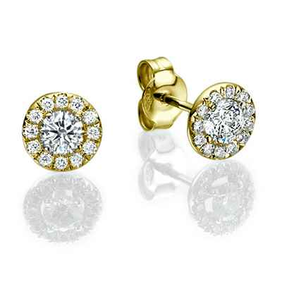 Pendientes de Halo de diamantes, diamantes laterales de 0,25 Ct.