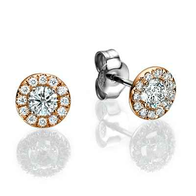 Halo diamond earrings, 0.25 Cts side diamonds