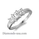 Foto Anillo de compromiso, de diamantes de 3 piedras Princesa de