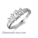 Picture of Three Princess stones diamond engagement ring