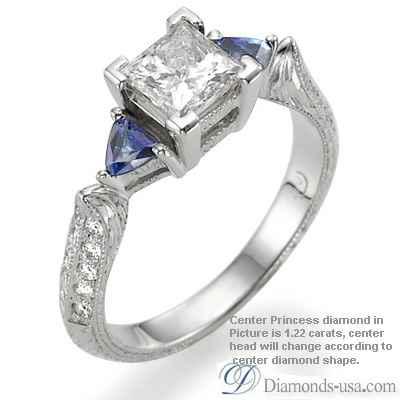 Anillo de compromiso estilo Vintage, diamantes y zafiros
