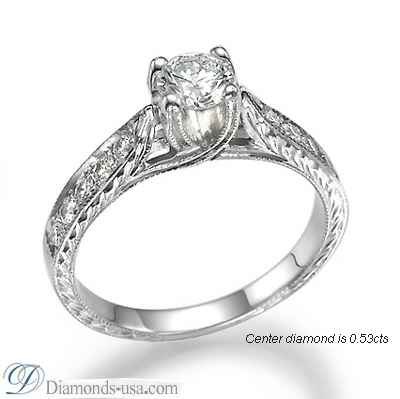 Vintage style engagement ring, hand engraved