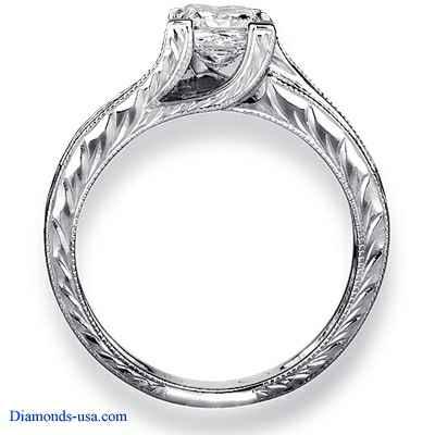 Engastes de anillos de compromiso Princesa grabados a mano de estilo Vintage