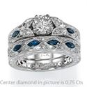 Foto Grabado a mano, diseñadores vintage Anillo de compromiso con zafiros azules de