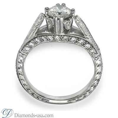 Vintage designers hand engraved engagement ring