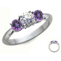 Picture of Amethyst sides, three stones engagement ring
