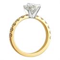 Foto Anillo de compromiso para diamantes grandes, diamantes laterales de 1 Ct. de