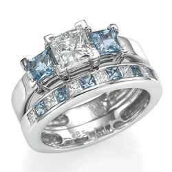 Aquamarines and diamonds bridal set