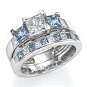 Picture of Aquamarines and diamonds bridal set
