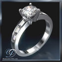 Picture of Baguette diamonds engagement ring