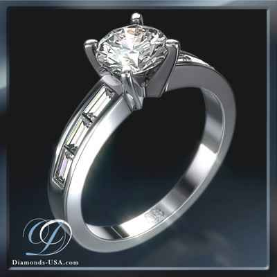 Baguette diamonds engagement ring