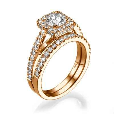 Set nupcial con diamantes laterales de 0,75 quilates