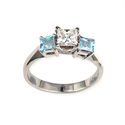 Picture of Engagement ring with Princess side Aquamarines