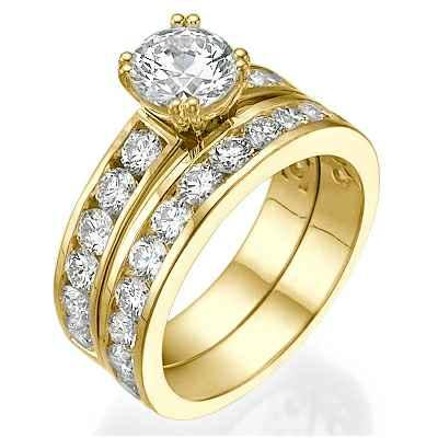 Anillos de compromiso y boda, diamantes laterales de 2,08 ct