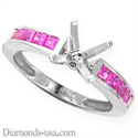 Picture of Engagement ring with pink Princess Sapphires