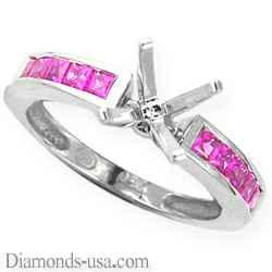 Anillo de Compromiso con zafiros rosados de corte Princesa