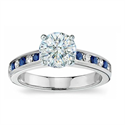 Picture of Engagement ring with side Diamond & Sapphires
