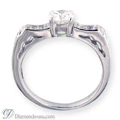 Engagement ring with side diamonds, 0.18 carats