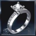 Picture of Engagement ring, 0.50 carat side Princess diamonds