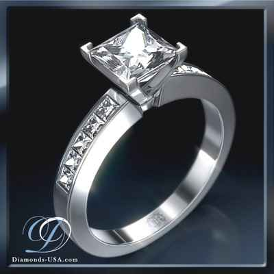 Engagement ring, 0.50 carat side Princess diamonds
