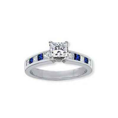 Engagement ring, accent Sapphires & Diamonds