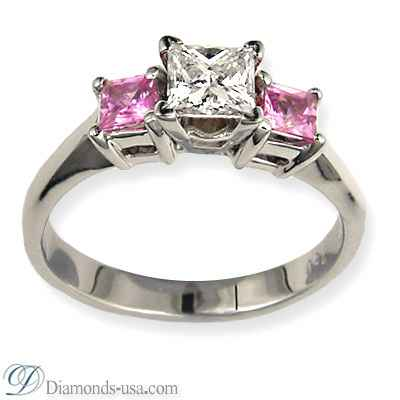 Engagement ring with side Princess pink Sapphires