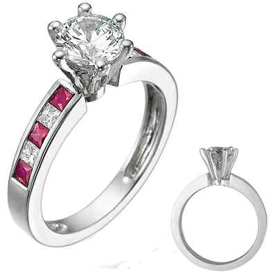 Engagement ring with side Rubies & Diamonds