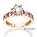 Foto Anillo de Compromiso con rubíes y diamantes laterales de