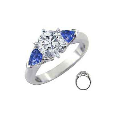 Engagement ring with side Sapphires Pear Shapes