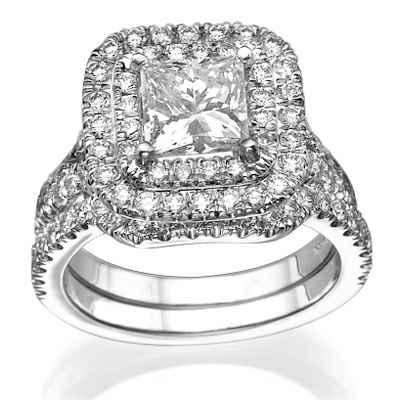 Double Halo Bridal Set, 1 carat side stones