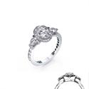 Foto Anillo de compromiso, 2 diamantes de pera, banda de pavimento de