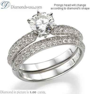 Side diamonds Knife Edge engagement ring settings